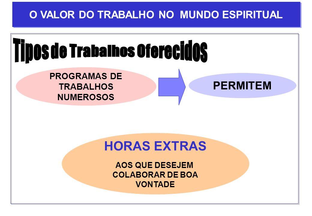 PROGRAMAS DE TRABALHOS NUMEROSOS PERMITEM HORAS EXTRAS AOS QUE DESEJEM COLABORAR DE BOA VONTADE O VALOR DO TRABALHO NO MUNDO ESPIRITUAL