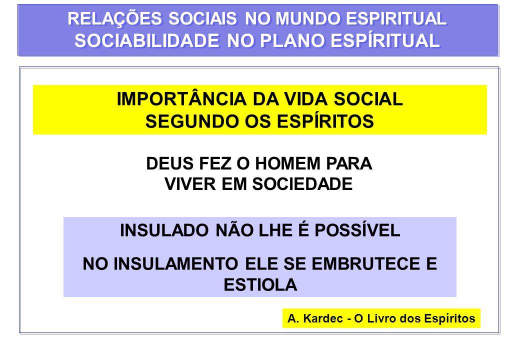 RELAÇÕES SOCIAIS NO MUNDO ESPIRITUAL SOCIABILIDADE NO PLANO ESPÍRITUAL RELAÇÕES SOCIAIS NO MUNDO ESPIRITUAL SOCIABILIDADE NO PLANO ESPÍRITUAL HOMEM DE BEM PRATICA A LEI...