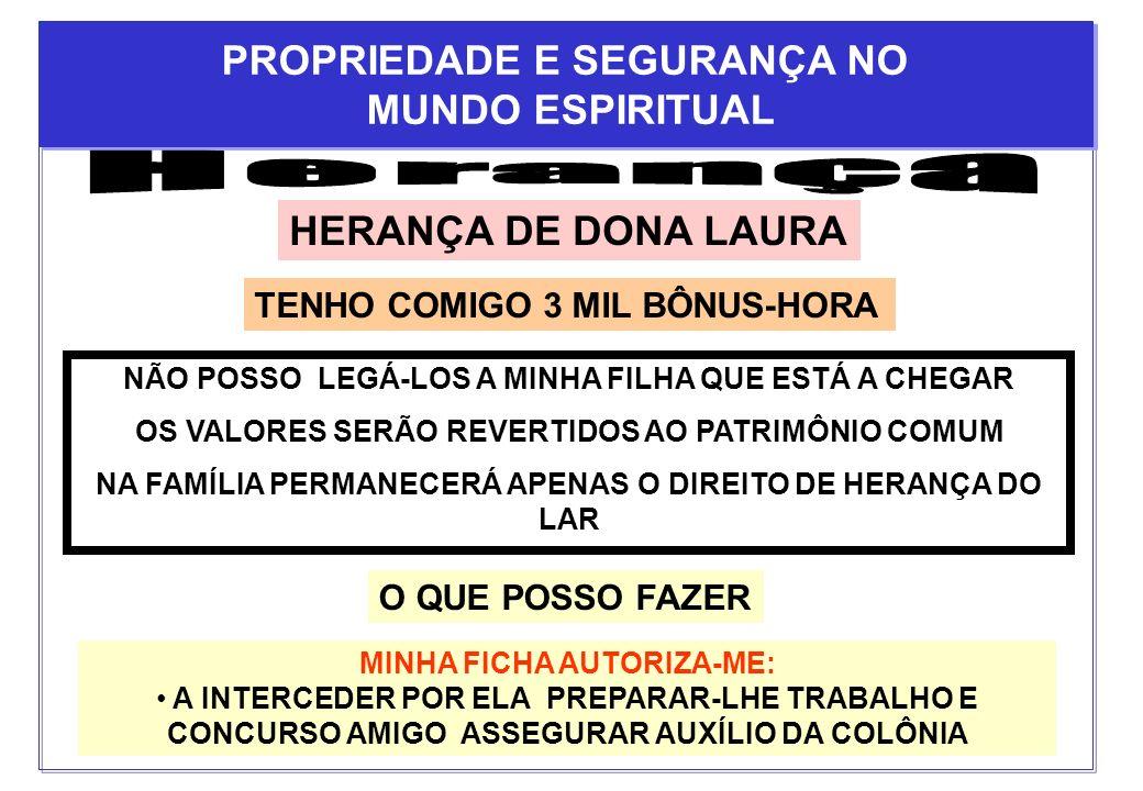 HERANÇA DE DONA LAURA TENHO COMIGO 3 MIL BÔNUS-HORA NÃO POSSO LEGÁ-LOS A MINHA FILHA QUE ESTÁ A CHEGAR OS VALORES SERÃO REVERTIDOS AO PATRIMÔNIO COMUM
