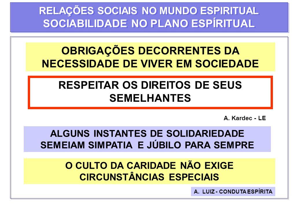 OBRIGAÇÕES DECORRENTES DA NECESSIDADE DE VIVER EM SOCIEDADE RESPEITAR OS DIREITOS DE SEUS SEMELHANTES A. Kardec - LE ALGUNS INSTANTES DE SOLIDARIEDADE