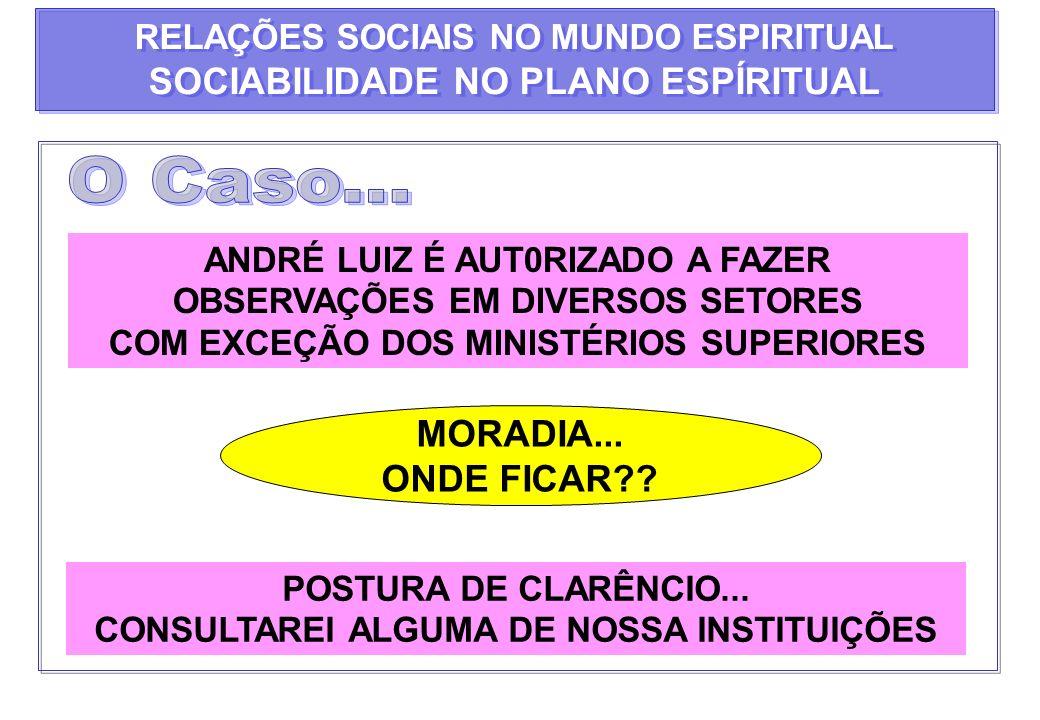 ANDRÉ LUIZ É AUT0RIZADO A FAZER OBSERVAÇÕES EM DIVERSOS SETORES COM EXCEÇÃO DOS MINISTÉRIOS SUPERIORES MORADIA... ONDE FICAR?? POSTURA DE CLARÊNCIO...