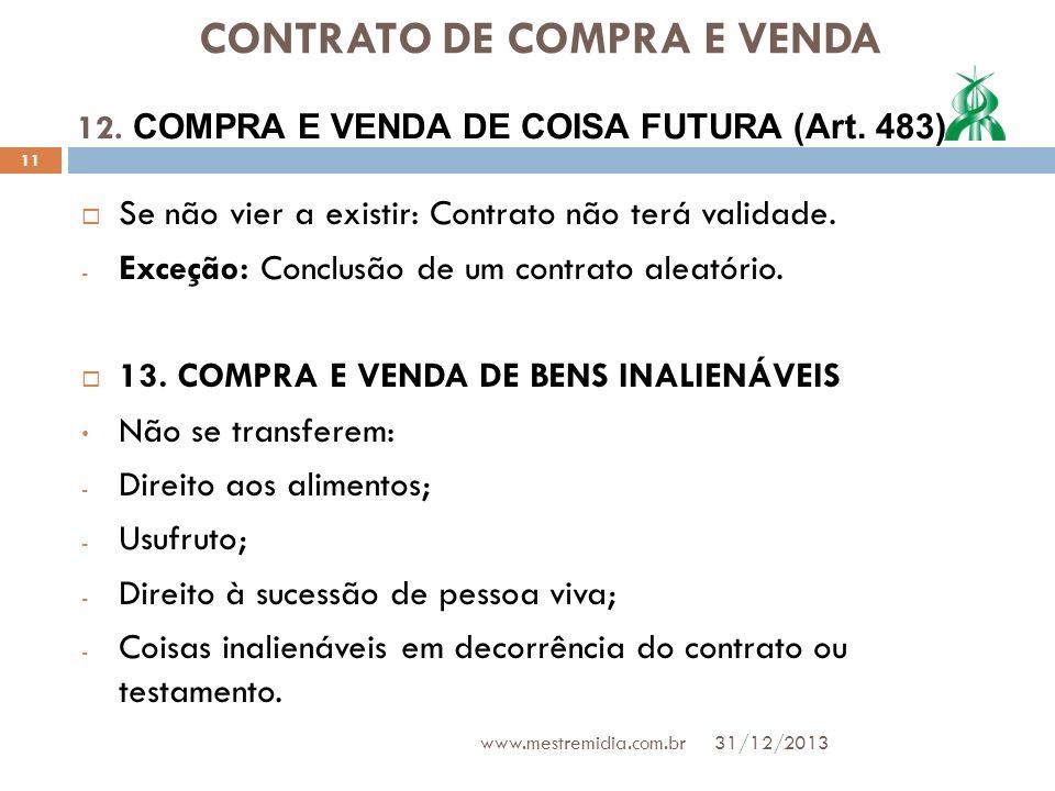 CONTRATO DE COMPRA E VENDA Se não vier a existir: Contrato não terá validade. - Exceção: Conclusão de um contrato aleatório. 13. COMPRA E VENDA DE BEN