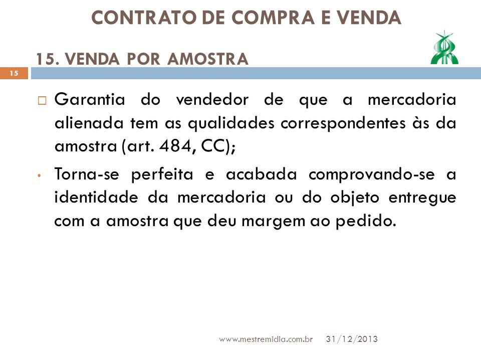 CONTRATO DE COMPRA E VENDA Garantia do vendedor de que a mercadoria alienada tem as qualidades correspondentes às da amostra (art. 484, CC); Torna-se