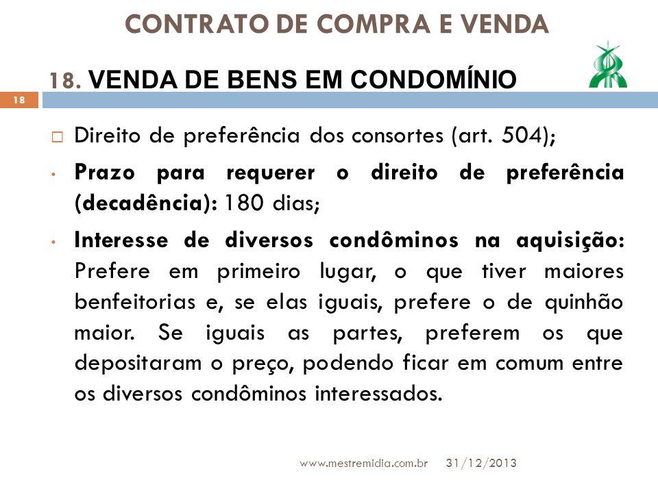 CONTRATO DE COMPRA E VENDA Direito de preferência dos consortes (art. 504); Prazo para requerer o direito de preferência (decadência): 180 dias; Inter