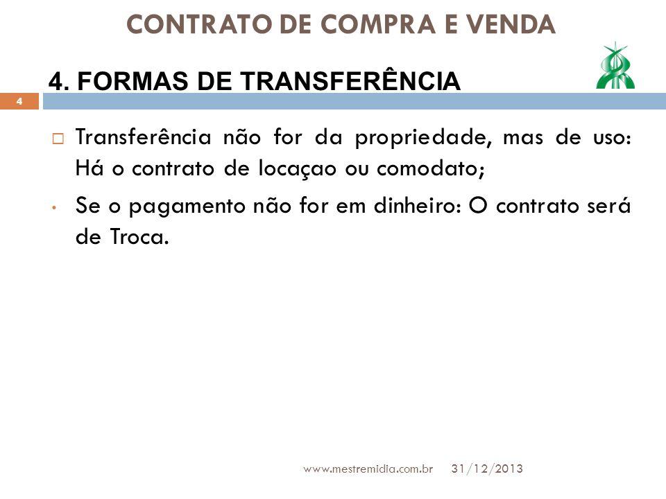 CONTRATO DE COMPRA E VENDA Transferência não for da propriedade, mas de uso: Há o contrato de locaçao ou comodato; Se o pagamento não for em dinheiro: