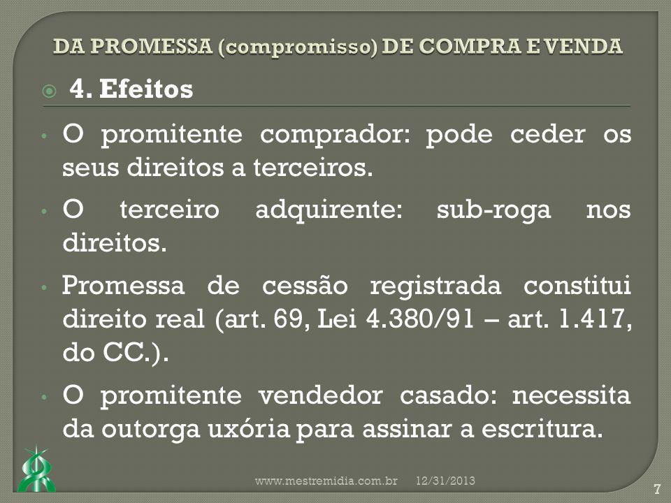 4. Efeitos O promitente comprador: pode ceder os seus direitos a terceiros.
