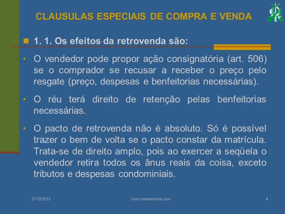 1. 1. Os efeitos da retrovenda são: O vendedor pode propor ação consignatória (art. 506) se o comprador se recusar a receber o preço pelo resgate (pre