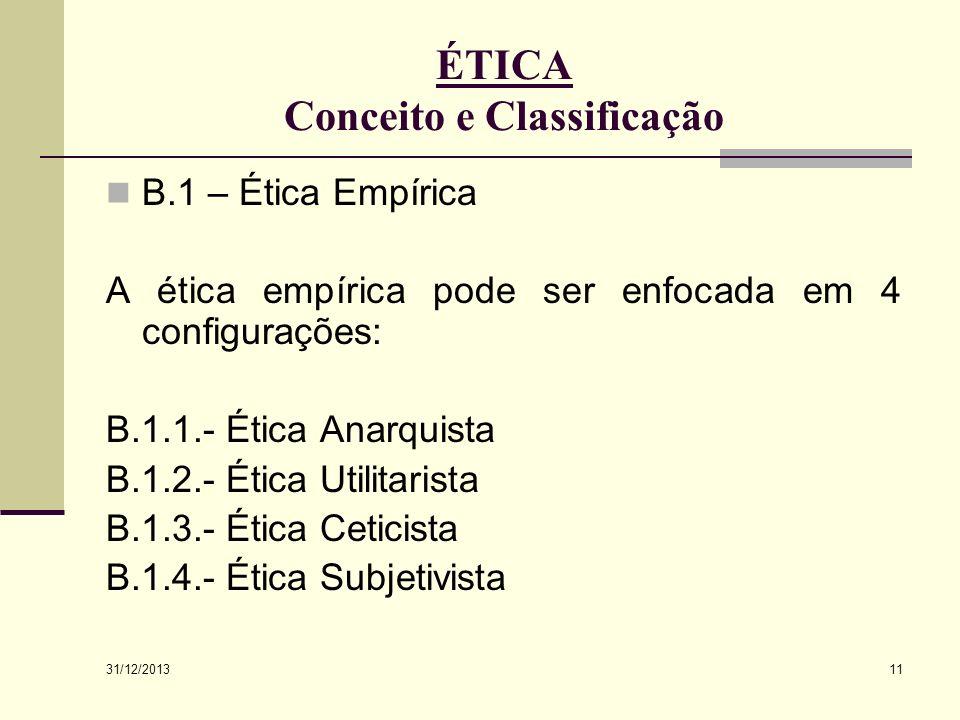 31/12/2013 11 ÉTICA Conceito e Classificação B.1 – Ética Empírica A ética empírica pode ser enfocada em 4 configurações: B.1.1.- Ética Anarquista B.1.