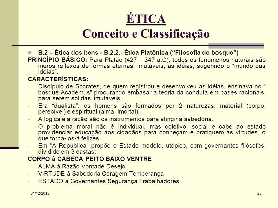 31/12/2013 20 ÉTICA Conceito e Classificação B.2 – Ética dos bens - B.2.2.- Ética Platônica (Filosofia do bosque) PRINCÍPIO BÁSICO: Para Platão (427 –