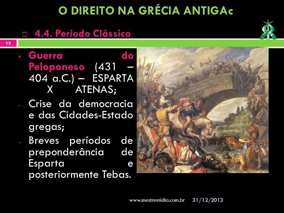 Guerra do Peloponeso (431 – 404 a.C.) – ESPARTA XATENAS; - Crise da democracia e das Cidades-Estado gregas; - Breves períodos de preponderância de Esp