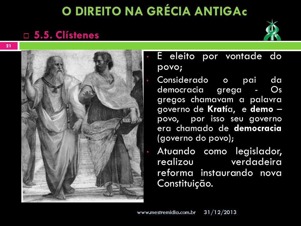 É eleito por vontade do povo; Considerado o pai da democracia grega - Os gregos chamavam a palavra governo de Kratía, e demo – povo, por isso seu gove
