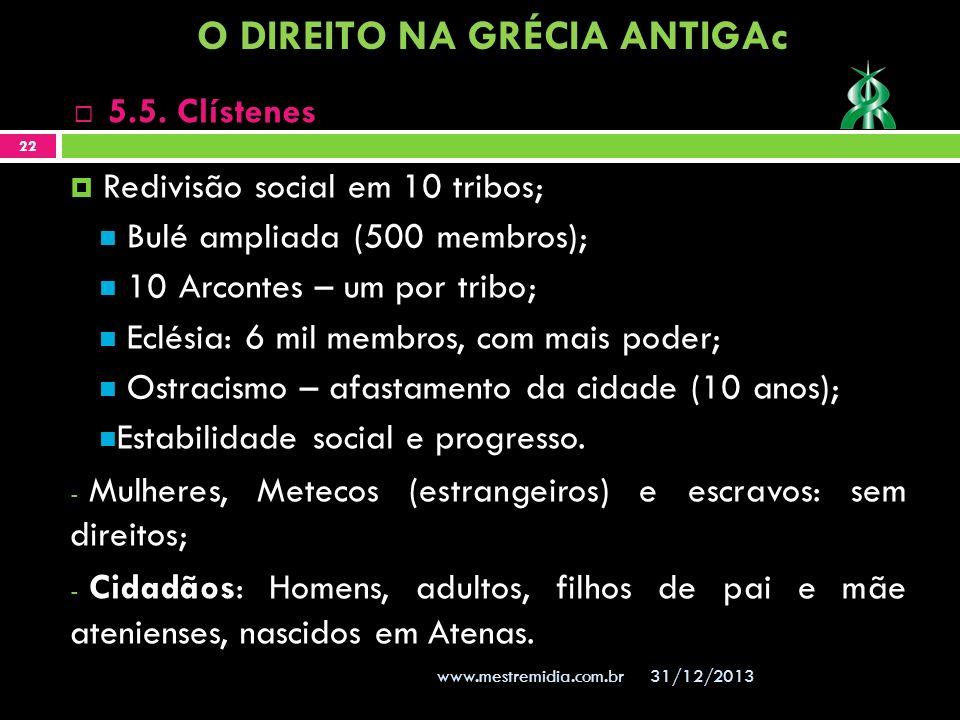 Redivisão social em 10 tribos; Bulé ampliada (500 membros); 10 Arcontes – um por tribo; Eclésia: 6 mil membros, com mais poder; Ostracismo – afastamen