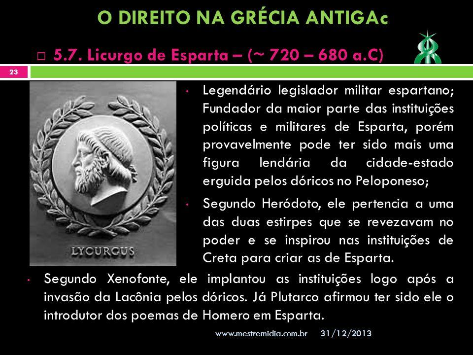Legendário legislador militar espartano; Fundador da maior parte das instituições políticas e militares de Esparta, porém provavelmente pode ter sido