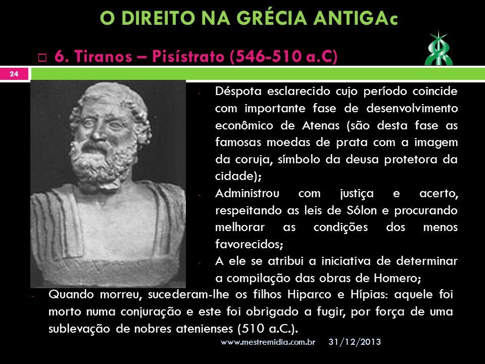 - Déspota esclarecido cujo período coincide com importante fase de desenvolvimento econômico de Atenas (são desta fase as famosas moedas de prata com