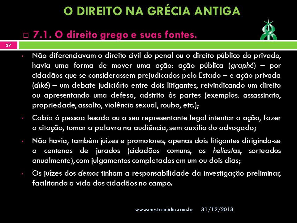 31/12/2013 27 www.mestremidia.com.br 7.1. O direito grego e suas fontes. Não diferenciavam o direito civil do penal ou o direito público do privado, h