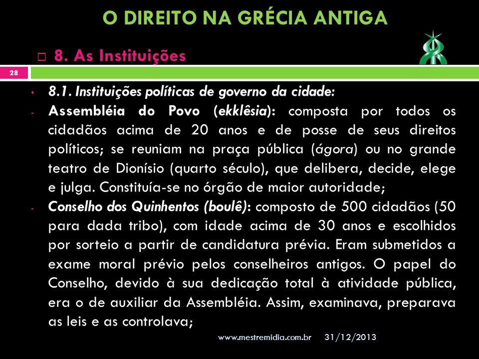 31/12/2013 28 www.mestremidia.com.br 8. As Instituições 8.1. Instituições políticas de governo da cidade: - Assembléia do Povo (ekklêsia): composta po