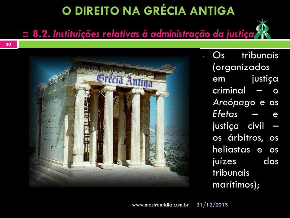 - Os tribunais (organizados em justiça criminal – o Areópago e os Efetas – e justiça civil – os árbitros, os heliastas e os juízes dos tribunais marít