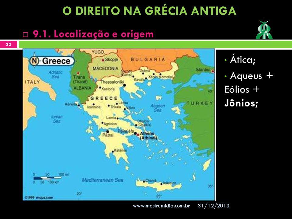 Ática; Aqueus + Eólios + Jônios; 31/12/2013 32 www.mestremidia.com.br 9.1. Localização e origem O DIREITO NA GRÉCIA ANTIGA
