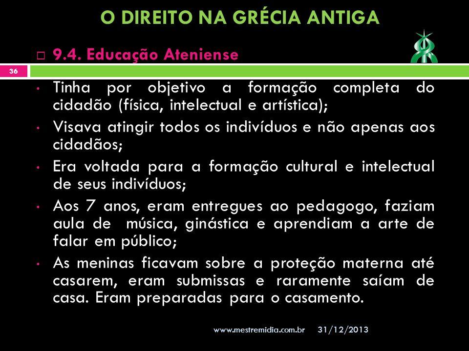 31/12/2013 36 www.mestremidia.com.br Tinha por objetivo a formação completa do cidadão (física, intelectual e artística); Visava atingir todos os indi