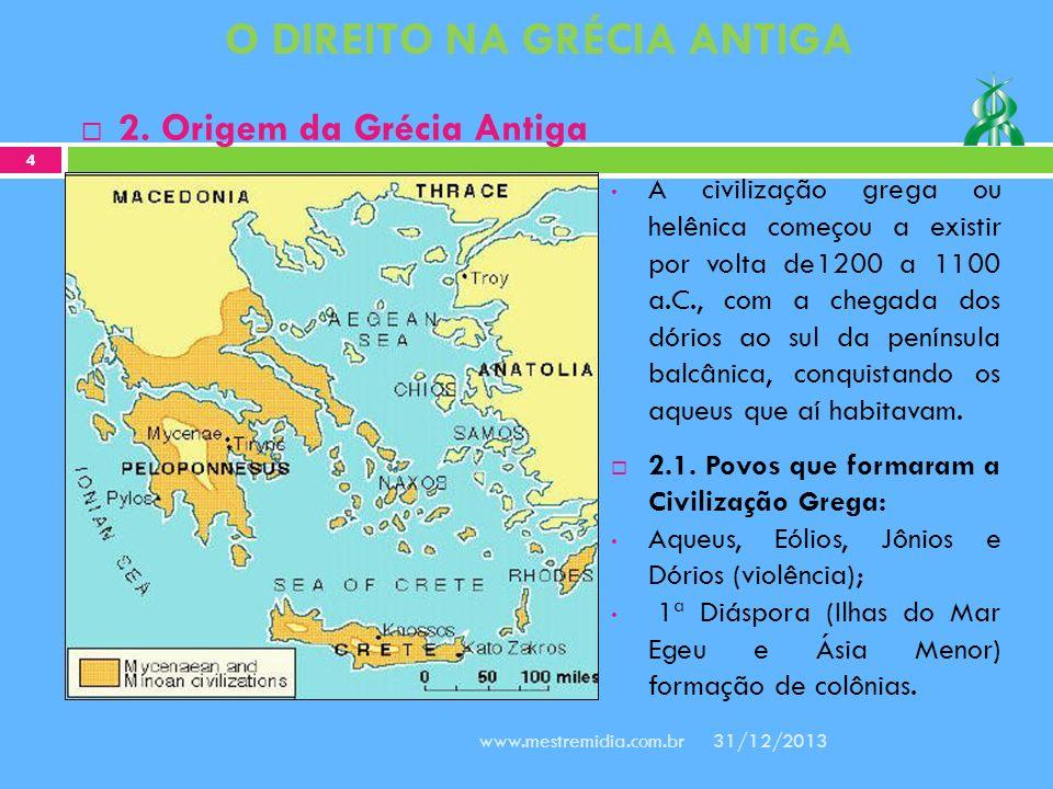 A civilização grega ou helênica começou a existir por volta de1200 a 1100 a.C., com a chegada dos dórios ao sul da península balcânica, conquistando o