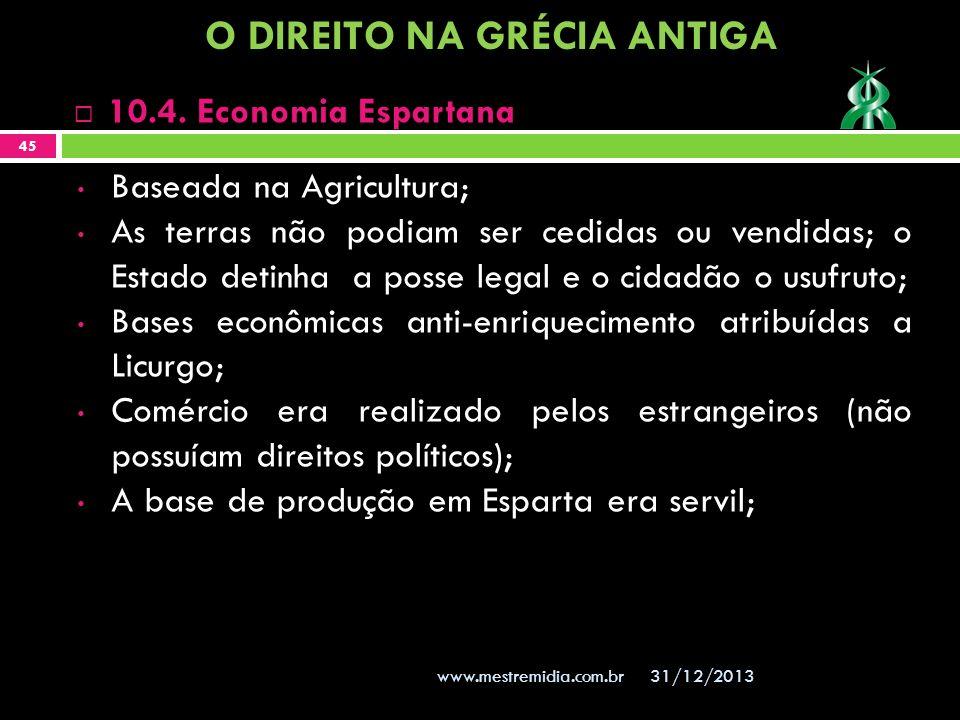 31/12/2013 45 www.mestremidia.com.br Baseada na Agricultura; As terras não podiam ser cedidas ou vendidas; o Estado detinha a posse legal e o cidadão