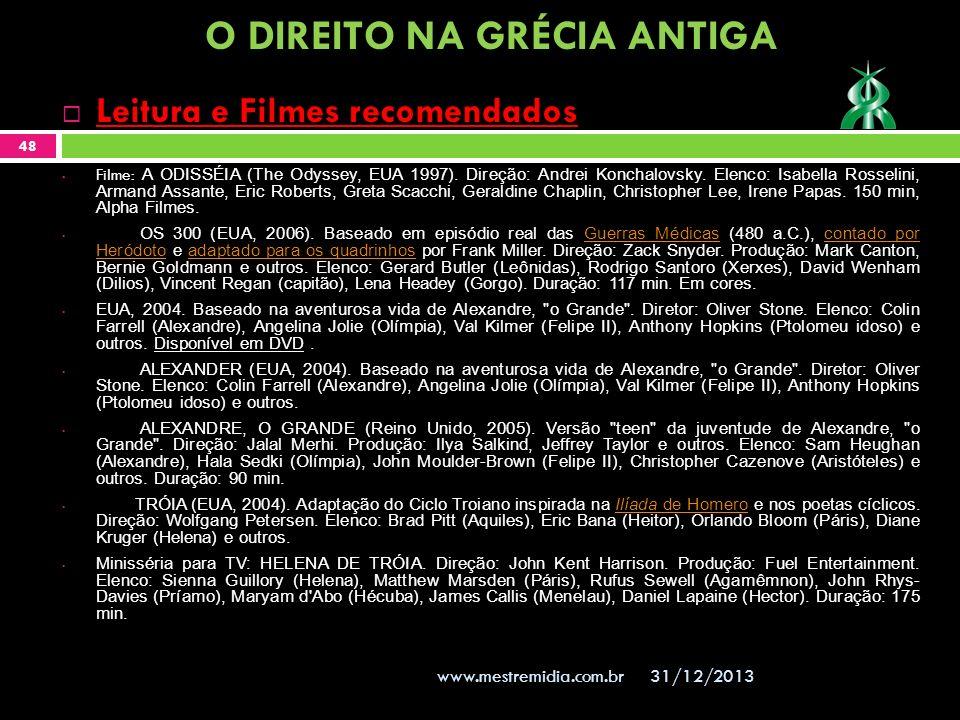 31/12/2013 48 www.mestremidia.com.br Leitura e Filmes recomendados Filme: A ODISSÉIA (The Odyssey, EUA 1997). Direção: Andrei Konchalovsky. Elenco: Is