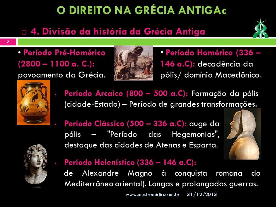 Período Arcaico (800 – 500 a.C): Formação da pólis (cidade-Estado) – Período de grandes transformações. 31/12/2013 7 www.mestremidia.com.br 4. Divisão