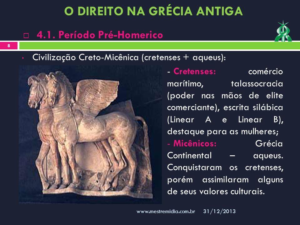 Civilização Creto-Micênica (cretenses + aqueus): 31/12/2013 8 www.mestremidia.com.br 4.1. Período Pré-Homerico - Cretenses: comércio marítimo, talasso