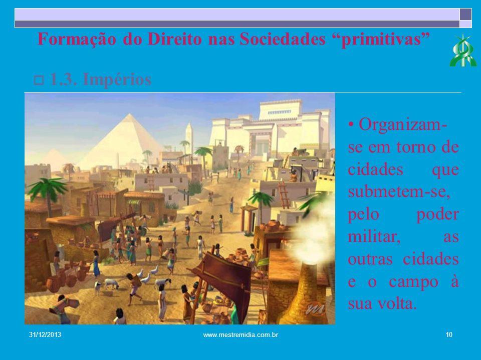 31/12/2013www.mestremidia.com.br10 1.3. Impérios Formação do Direito nas Sociedades primitivas Organizam- se em torno de cidades que submetem-se, pelo