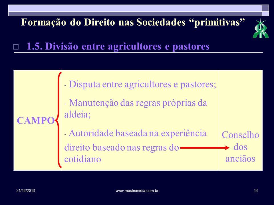 31/12/2013www.mestremidia.com.br13 1.5. Divisão entre agricultores e pastores CAMPO - Disputa entre agricultores e pastores; - Manutenção das regras p