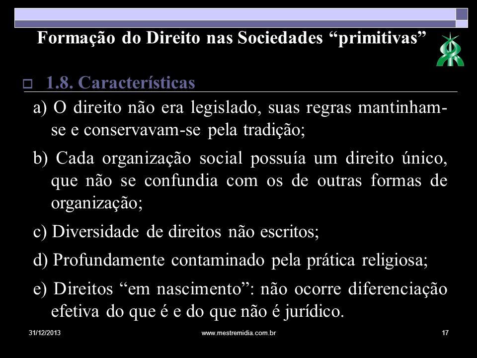 31/12/2013www.mestremidia.com.br17 1.8. Características Formação do Direito nas Sociedades primitivas a) O direito não era legislado, suas regras mant