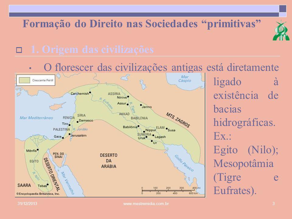 31/12/2013www.mestremidia.com.br3 Formação do Direito nas Sociedades primitivas O florescer das civilizações antigas está diretamente 1. Origem das ci