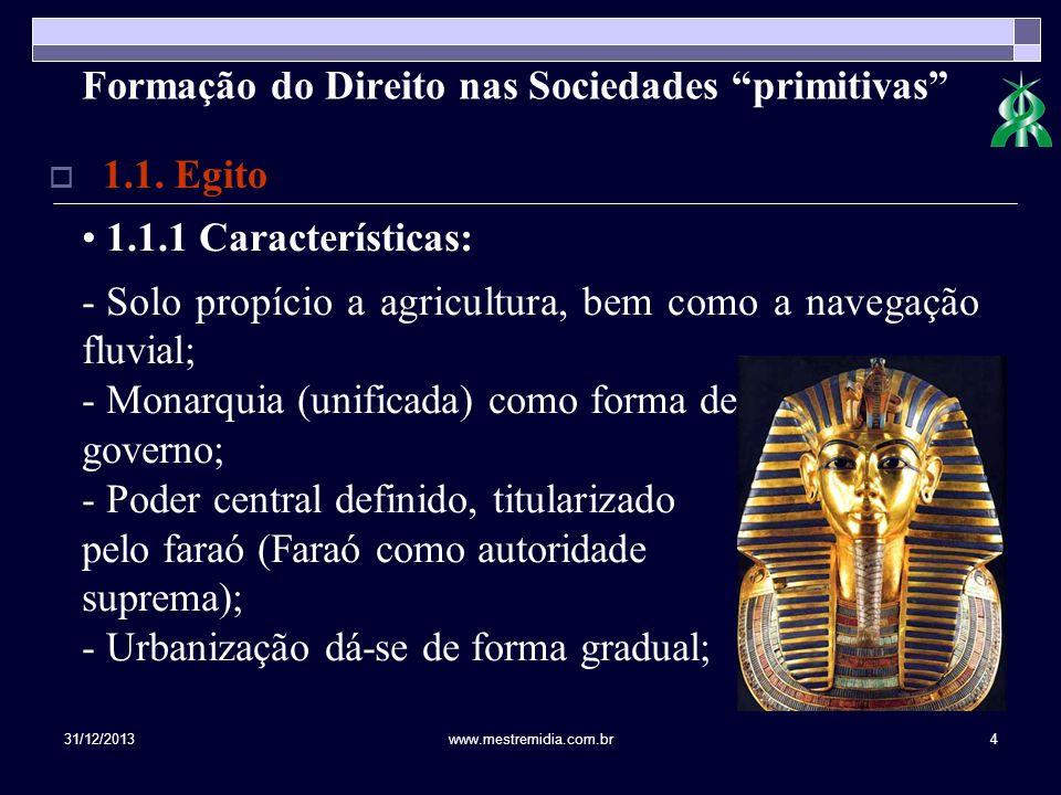 31/12/2013www.mestremidia.com.br4 Formação do Direito nas Sociedades primitivas 1.1. Egito 1.1.1 Características: - Solo propício a agricultura, bem c