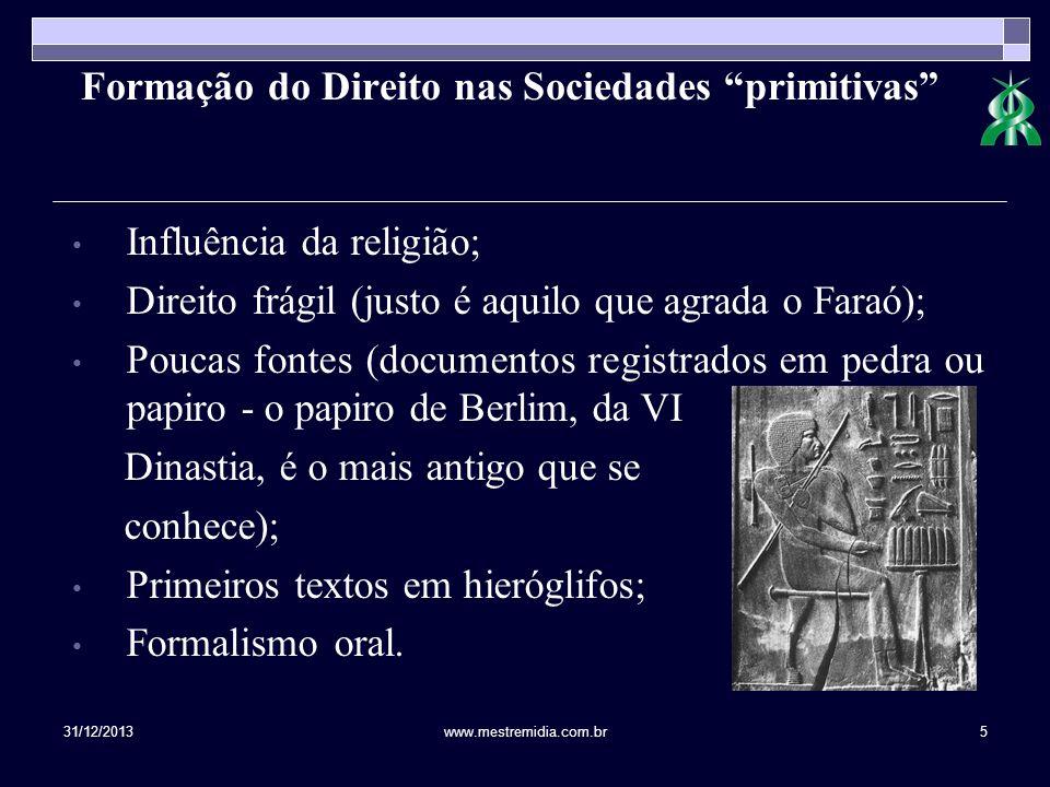 31/12/2013www.mestremidia.com.br5 Formação do Direito nas Sociedades primitivas Influência da religião; Direito frágil (justo é aquilo que agrada o Fa