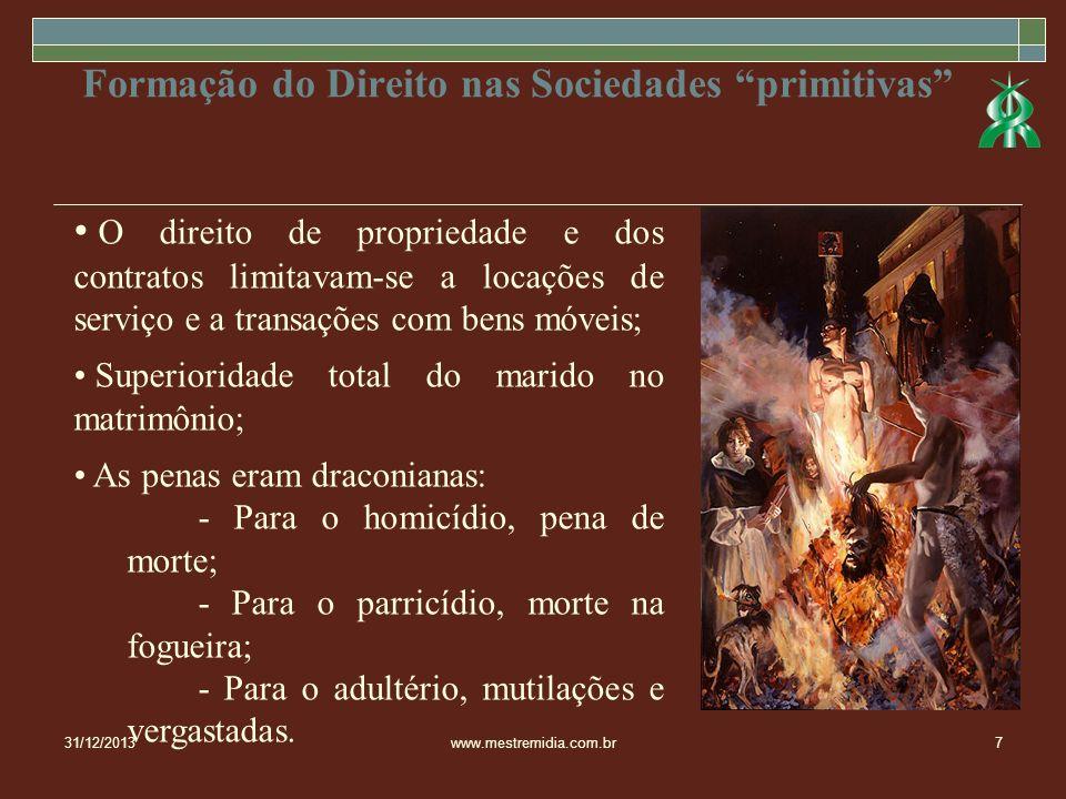 31/12/2013www.mestremidia.com.br7 Formação do Direito nas Sociedades primitivas O direito de propriedade e dos contratos limitavam-se a locações de se