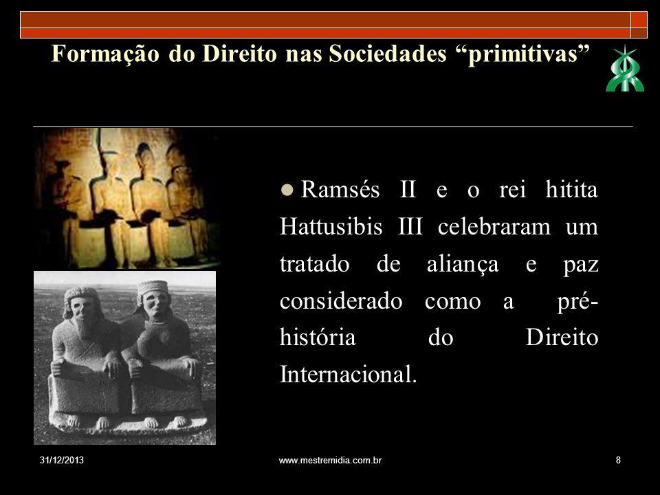 31/12/2013www.mestremidia.com.br8 Formação do Direito nas Sociedades primitivas Ramsés II e o rei hitita Hattusibis III celebraram um tratado de alian