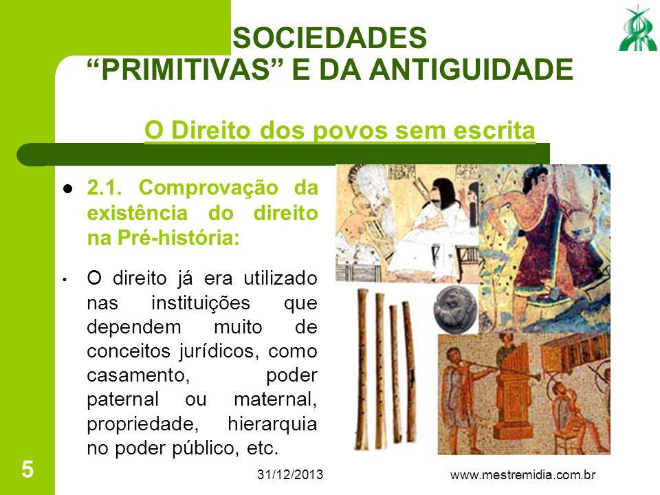 31/12/2013 5 SOCIEDADES PRIMITIVAS E DA ANTIGUIDADE 2.1. Comprovação da existência do direito na Pré-história: O direito já era utilizado nas institui