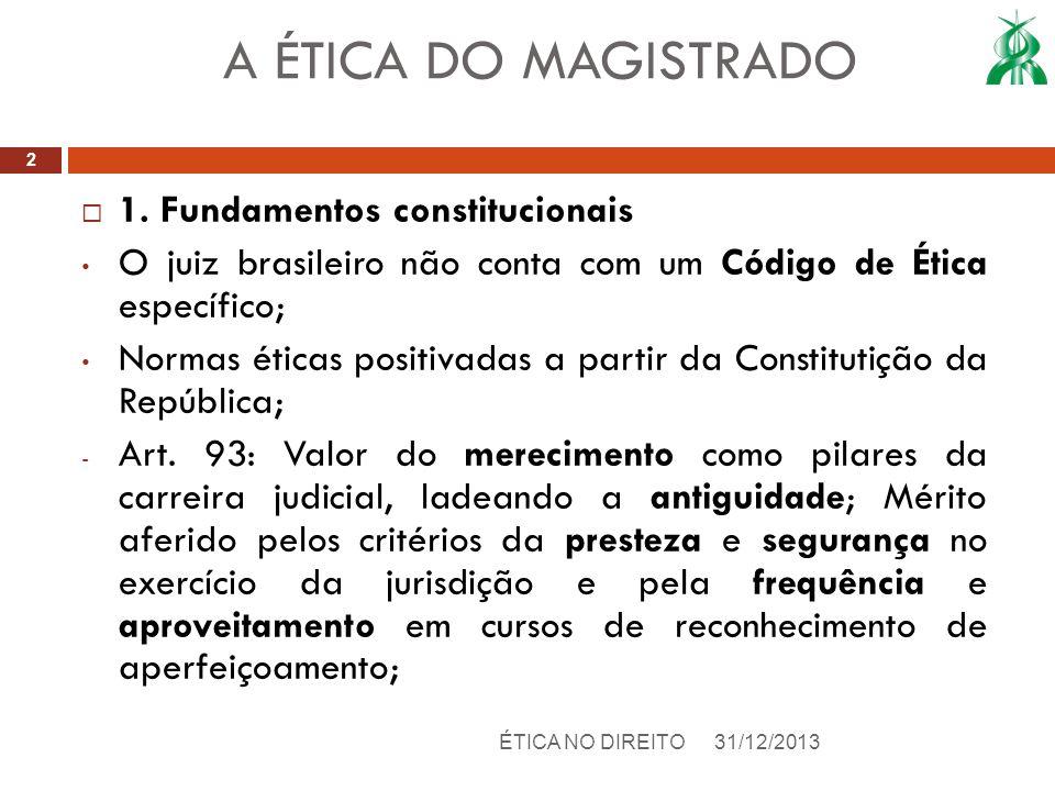1. Fundamentos constitucionais O juiz brasileiro não conta com um Código de Ética específico; Normas éticas positivadas a partir da Constitutição da R