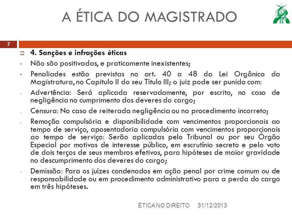 4. Sanções e infrações éticas Não são positivadas, e praticamente inexistentes; Penaliades estão previstas no art. 40 a 48 da Lei Orgânica da Magistra