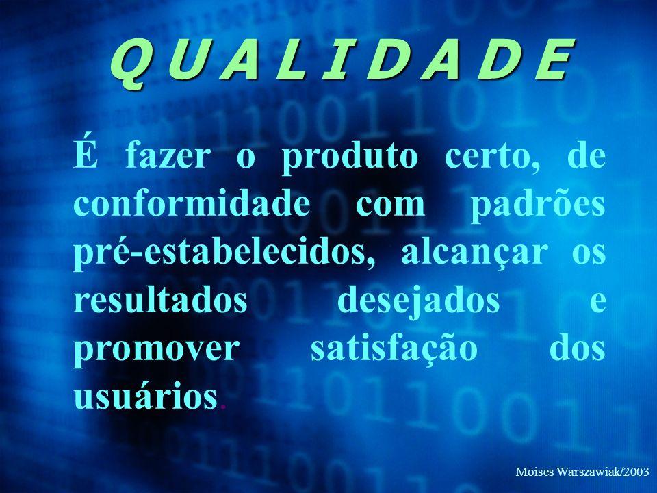 Moises Warszawiak/2003 Q U A L I D A D E É fazer o produto certo, de conformidade com padrões pré-estabelecidos, alcançar os resultados desejados e pr