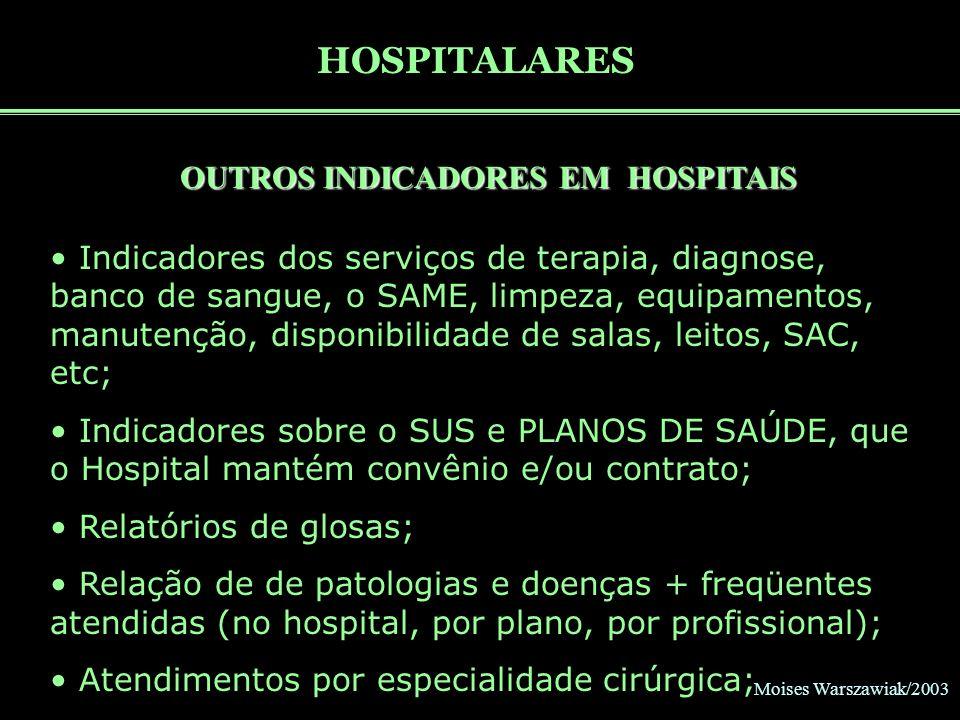 Moises Warszawiak/2003 HOSPITALARES OUTROS INDICADORES EM HOSPITAIS Indicadores dos serviços de terapia, diagnose, banco de sangue, o SAME, limpeza, e