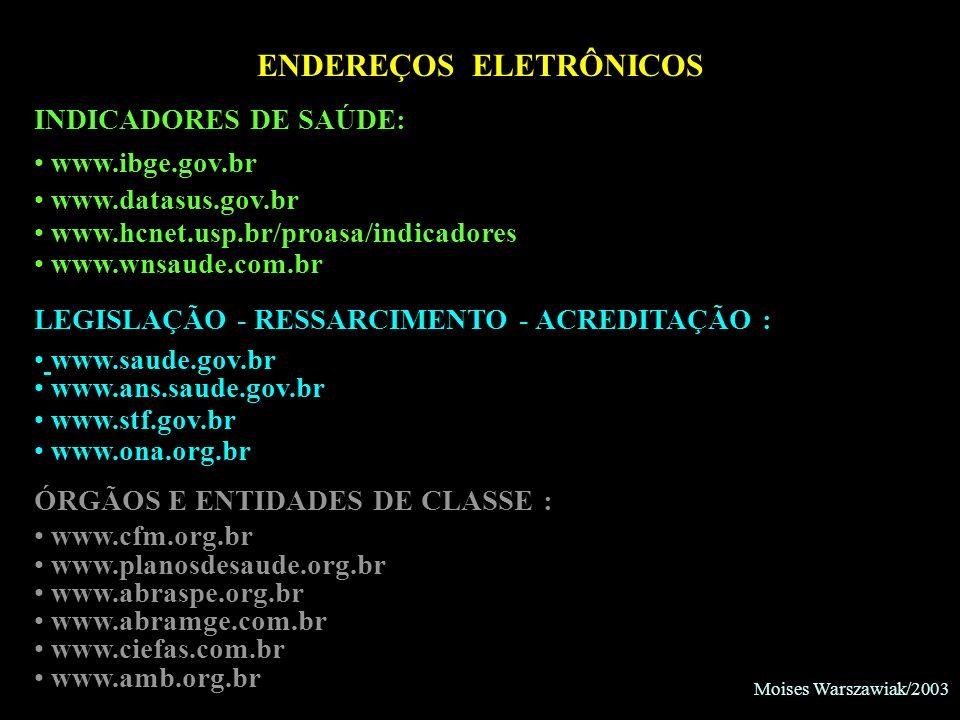 Moises Warszawiak/2003 ENDEREÇOS ELETRÔNICOS INDICADORES DE SAÚDE: www.ibge.gov.br www.datasus.gov.br www.hcnet.usp.br/proasa/indicadores www.wnsaude.