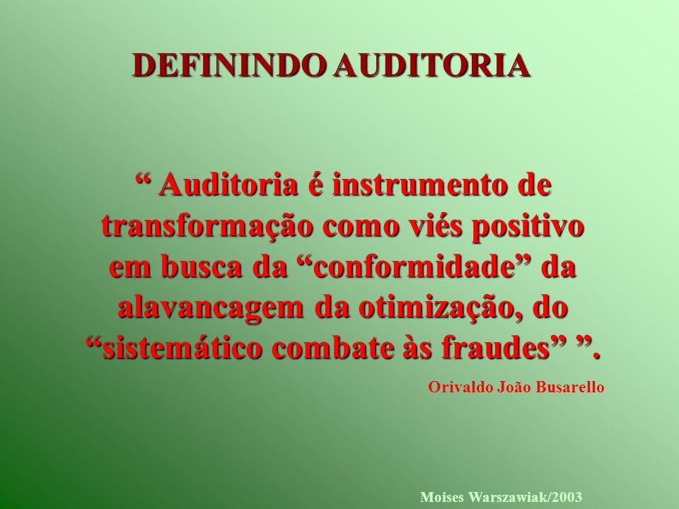 Moises Warszawiak/2003 DEFININDO AUDITORIA Auditoria é instrumento de transformação como viés positivo em busca da conformidade da alavancagem da otim