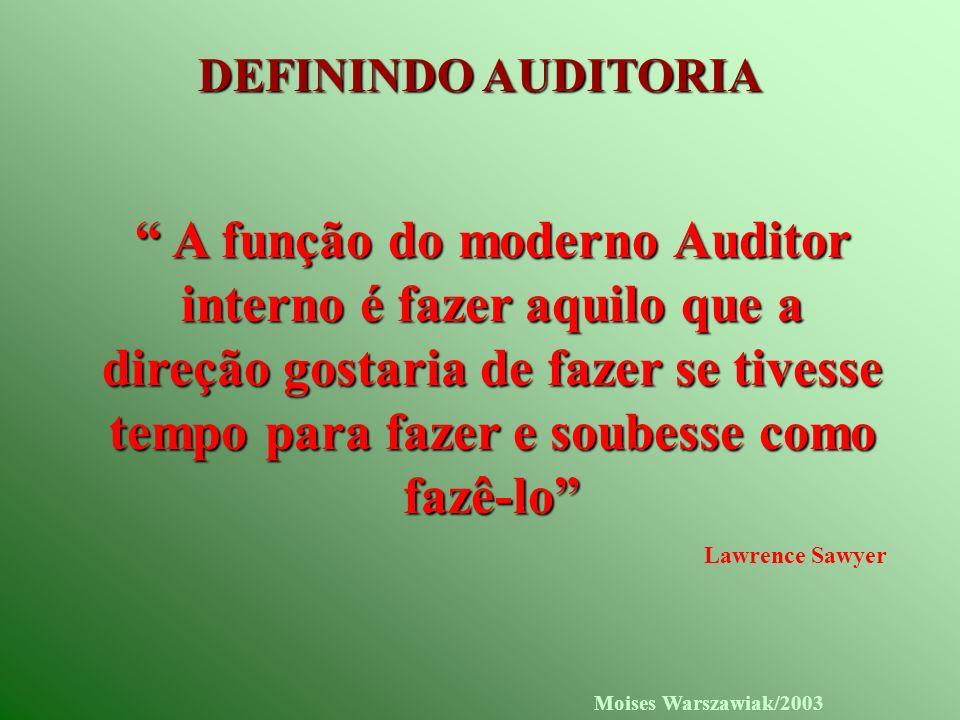 Moises Warszawiak/2003 DEFININDO AUDITORIA A função do moderno Auditor interno é fazer aquilo que a direção gostaria de fazer se tivesse tempo para fa