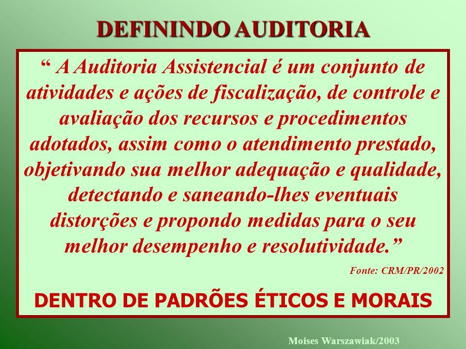 Moises Warszawiak/2003 DEFININDO AUDITORIA A Auditoria Assistencial é um conjunto de atividades e ações de fiscalização, de controle e avaliação dos r