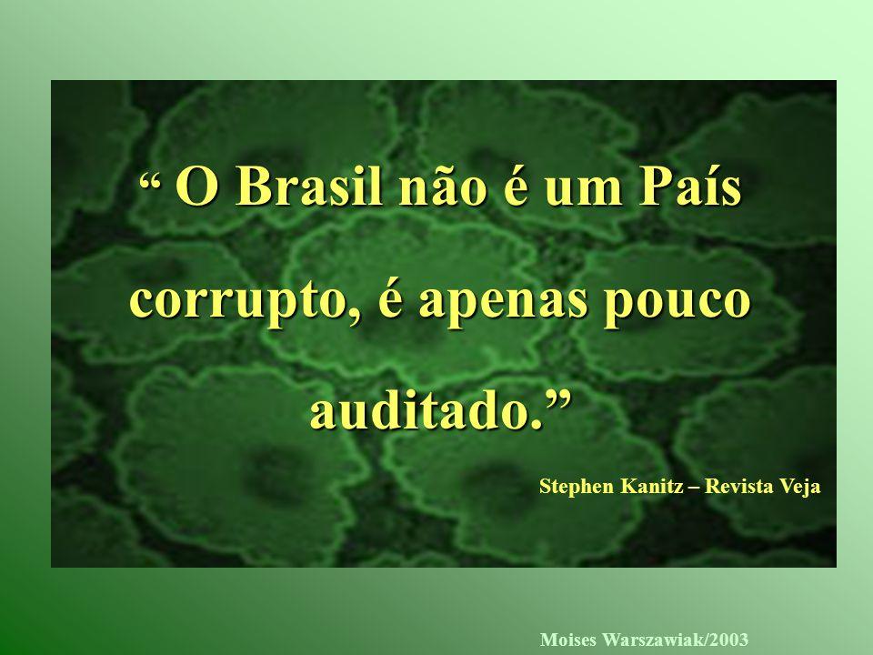 Moises Warszawiak/2003 O Brasil não é um País corrupto, é apenas pouco auditado. Stephen Kanitz – Revista Veja