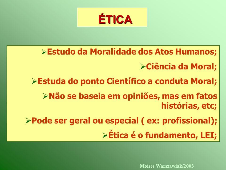 Moises Warszawiak/2003 ÉTICA Estudo da Moralidade dos Atos Humanos; Ciência da Moral; Estuda do ponto Científico a conduta Moral; Não se baseia em opi