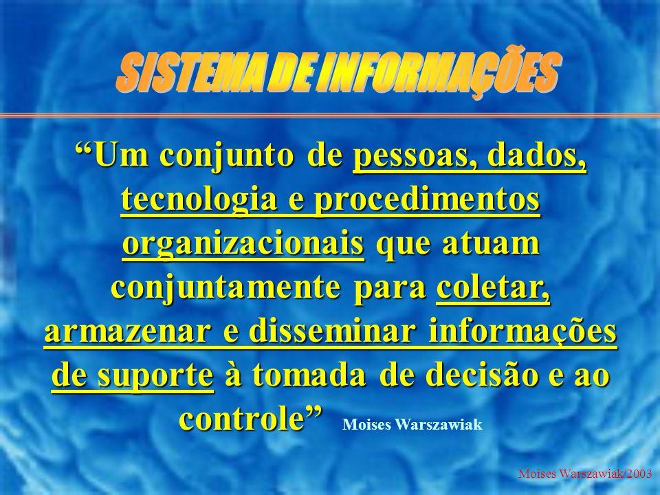 Moises Warszawiak/2003 Um conjunto de pessoas, dados, tecnologia e procedimentos organizacionais que atuam conjuntamente para coletar, armazenar e dis