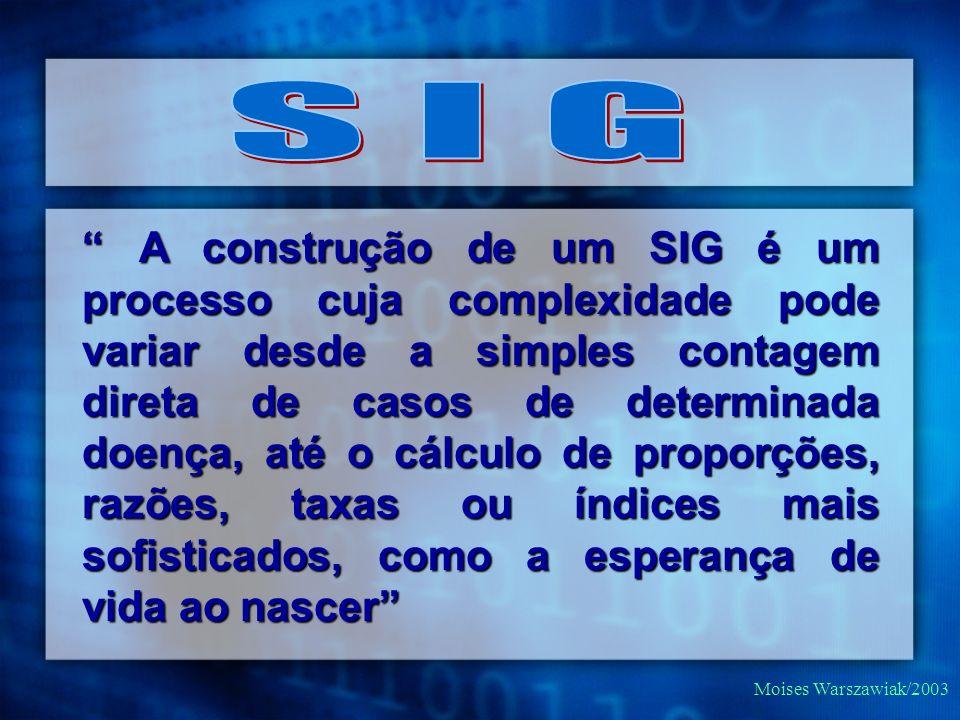 Moises Warszawiak/2003 A construção de um SIG é um processo cuja complexidade pode variar desde a simples contagem direta de casos de determinada doen