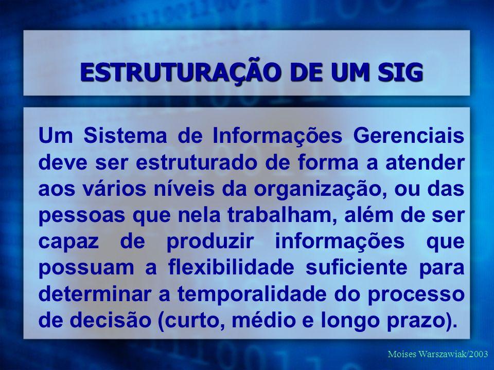 Moises Warszawiak/2003 Um Sistema de Informações Gerenciais deve ser estruturado de forma a atender aos vários níveis da organização, ou das pessoas q
